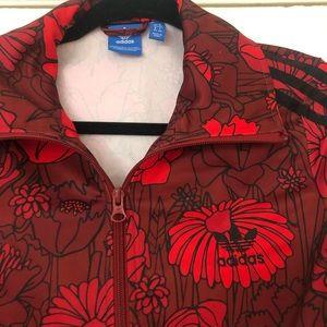 Red Burgundy & Black Floral Adidas Track Jacket